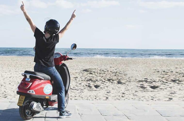 Red Vespa along the coast