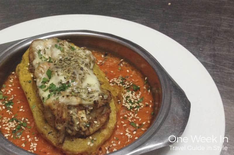 Arc Iris restaurant in Barcelona, filled potato