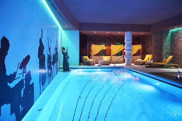 Enjoy the indoor pool at Aria Hotel in your one week in Budapest