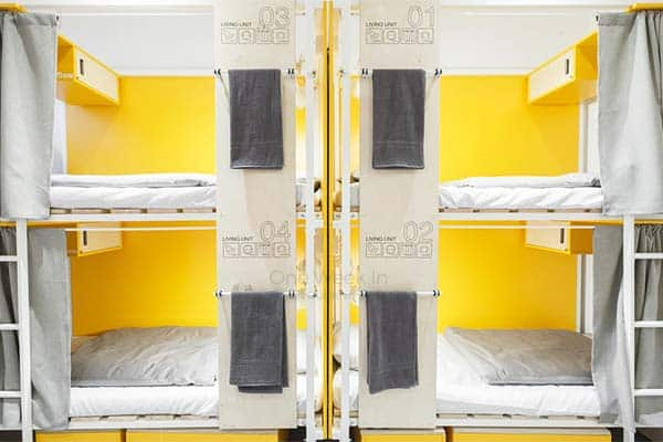 Each bed at Flow Hostel is equipped wit curtains, sockets and personal lights