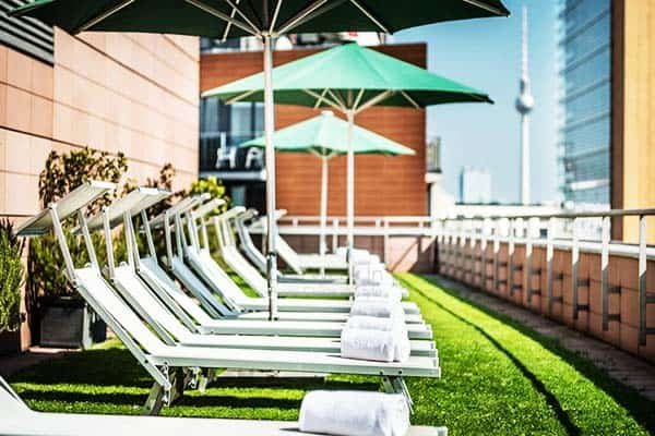 Go sunbathing or just chill at Grand Hyatt's rooftop deck