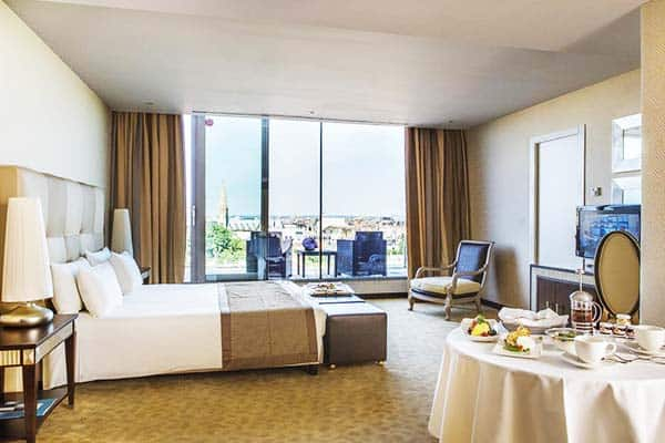 Rooms offer a wonderful view of Budapest at the New York Palace