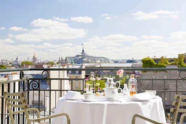 Panoramic views at breakfast at Le Bristol Hotel Paris
