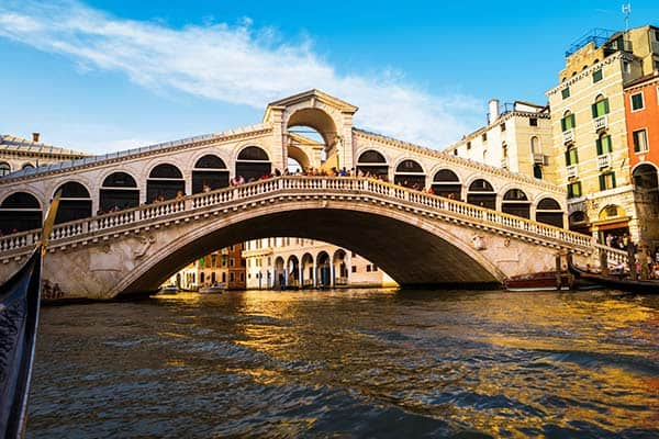 Don't forget to cross the iconic Rialto Bridge while in Venice