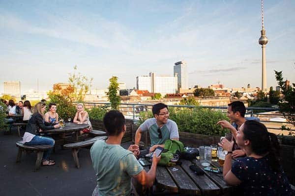 Wombats City Hostel rooftop is priceless, offering a great view of Berlin