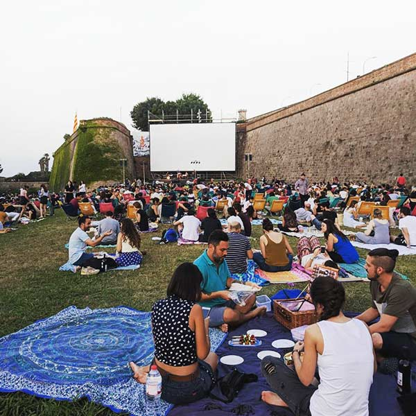 Open Air Cinema at Montjuic during Summer times