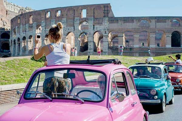 Fiat 500 rental in Rome - unique things to do