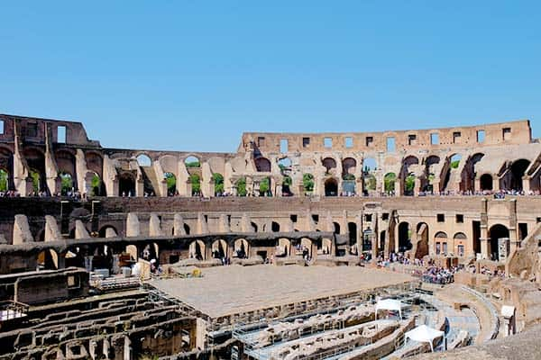 Inside the Colosseum in Rome; you need to book a ticket before!