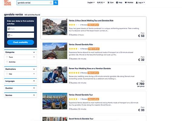 Selecting activities on GetYourGuide