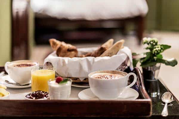 Breakfast at the room at the Rookery hotel