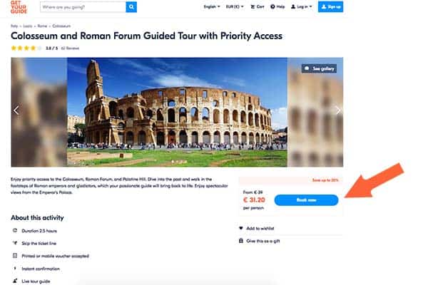 Select your tour with GetYourguide