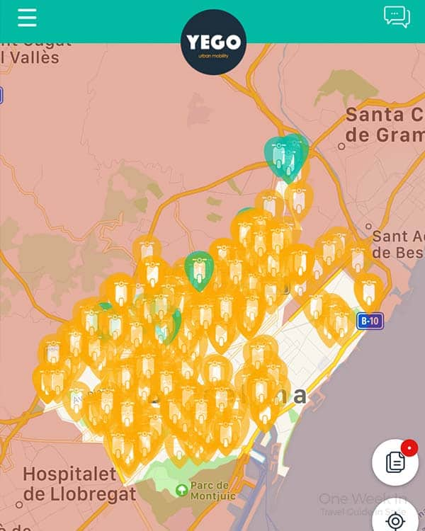 YEGO Scooter Sharing App in Barcelona