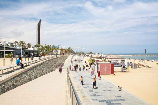 Grab an ice cream and beat the heat at Bogatell Beach
