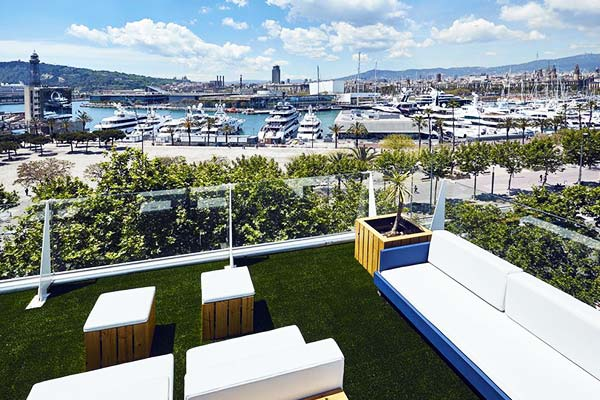 See the picturesque port right from the balcony at Hotel 54 Barceloneta