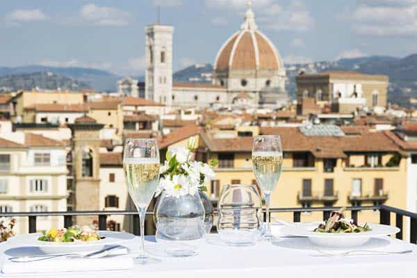 Hotel Lungarno features a rooftop restaurant that offers a wonderful view of Florence