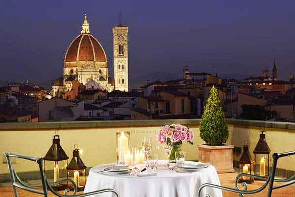 Have a romantic dinner at Hotel Santa Maria Novella with a stunning view of the Duomo