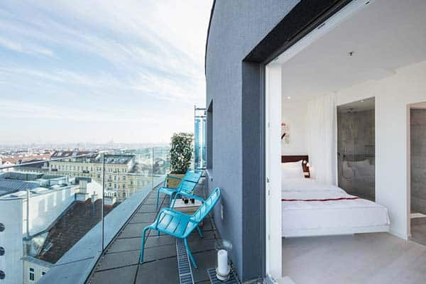 Ruby Marie Hotel boasts a beautiful rooftop terrace to soak up those warm Viennese summer evenings