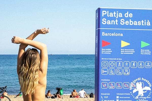 Go nude in one of Barcelona's nudist beach at San Sebastia Beach