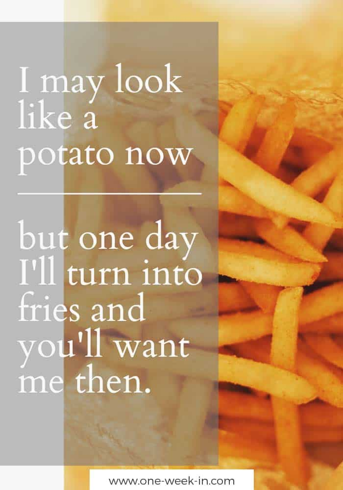 I may look like a potato now but one day I'll turn into fries and you'll want me then.