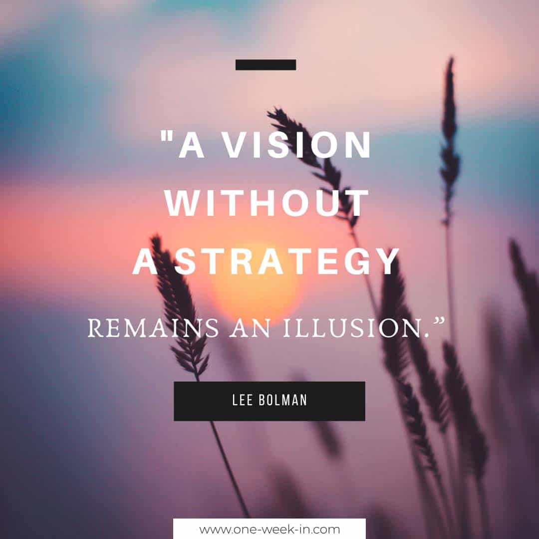 A vision without a strategy remains an illusion