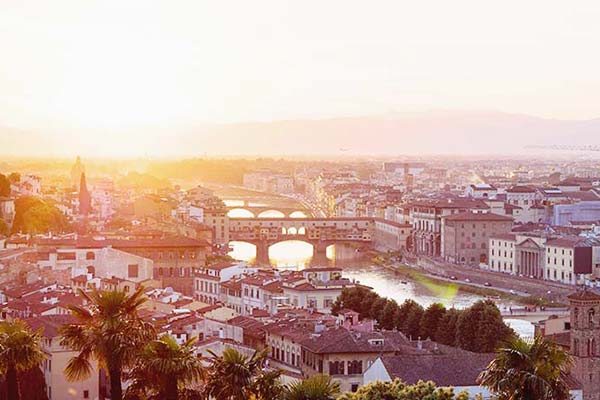 Witness the wonderful sunsets in Florence