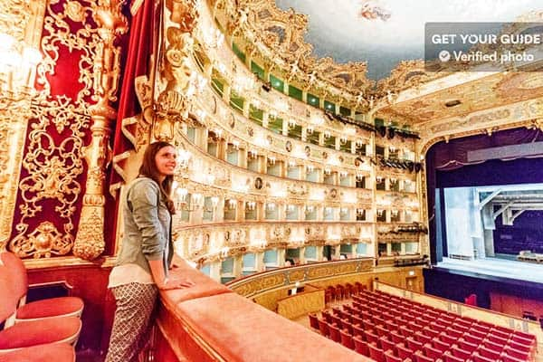 Witness the stunning decor inside Teatro La Fenice