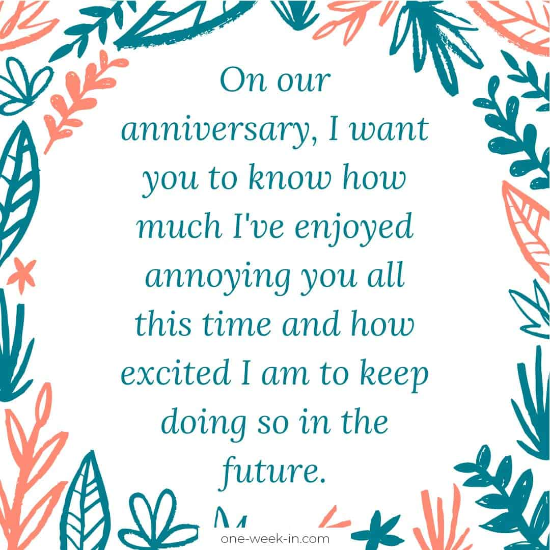 On our anniversary, I want you to know how much I've enjoyed annoying you all this time