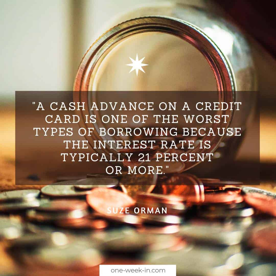 A cash advance on a credit card is one of the worst types of borrowing