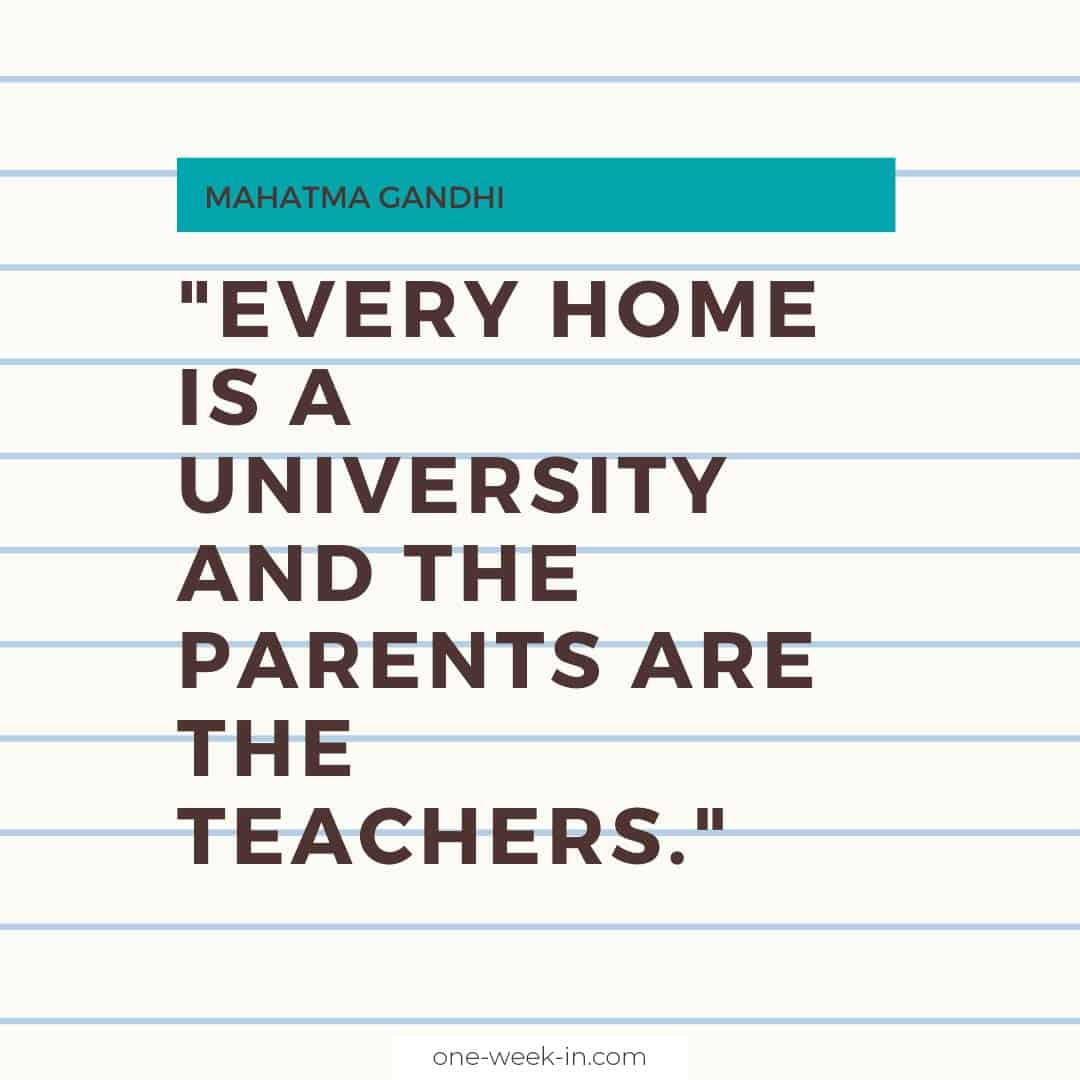Every home is a university and the parents are the teachers