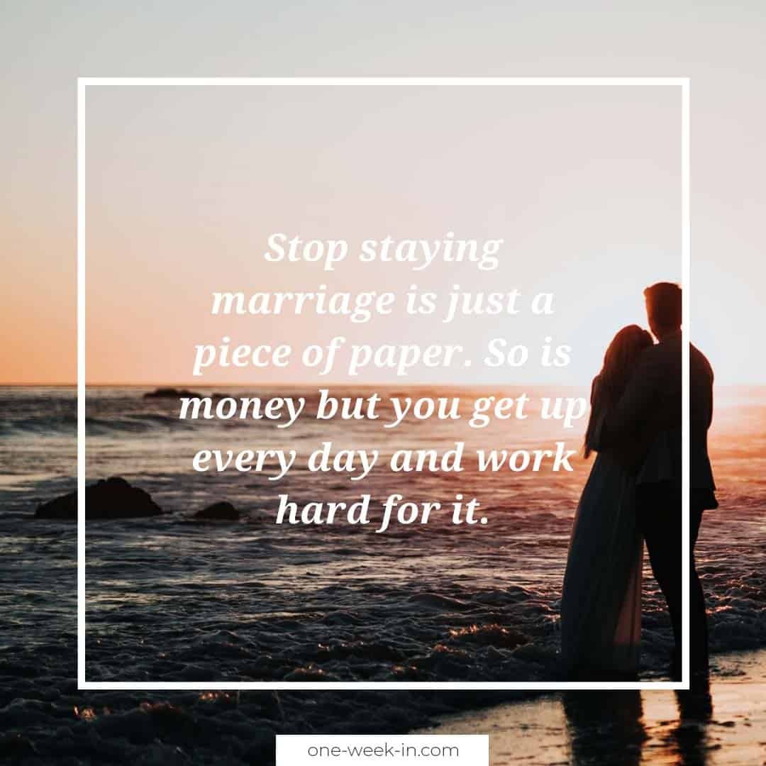 Stop staying marriage is just a piece of paper