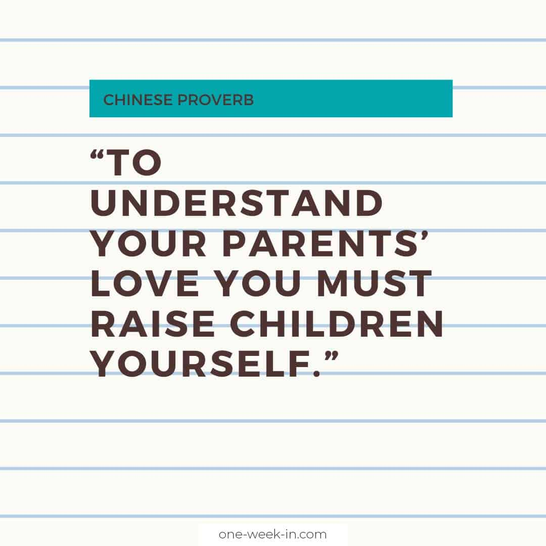 To understand your parents' love you must raise children yourself