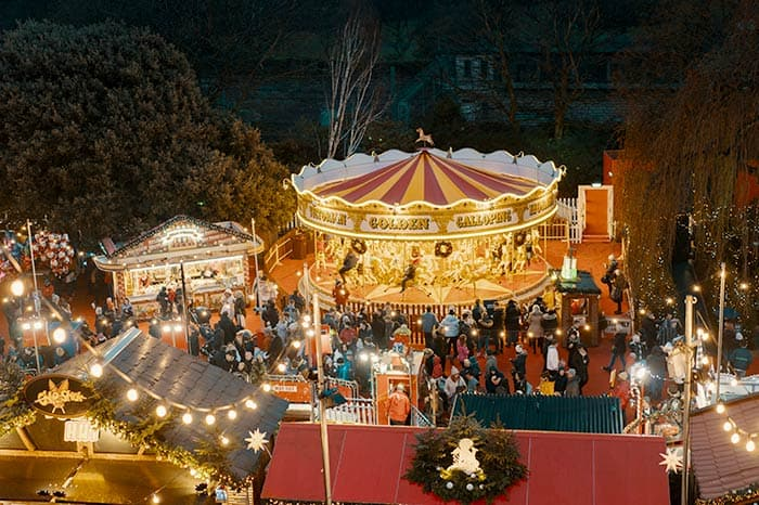 A merry-go-round at Brussels Christmas Market - one of the best Christmas markets in Europe